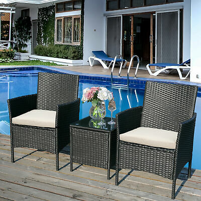£157.99 • Buy 3 Piece Patio Outdoor Rattan Garden Furniture Set With Removable Cushion UK J9B2