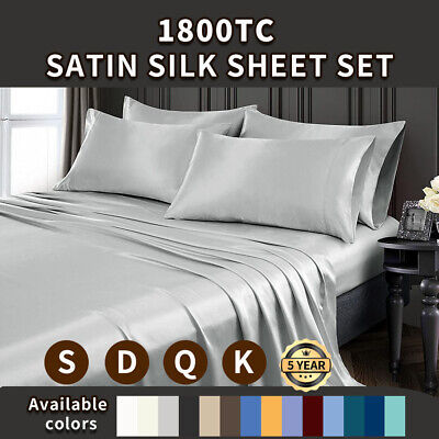 AU42.99 • Buy 1800TC Silky Satin Pillowcase Flat Fitted Sheet Set Single Double Queen King Bed