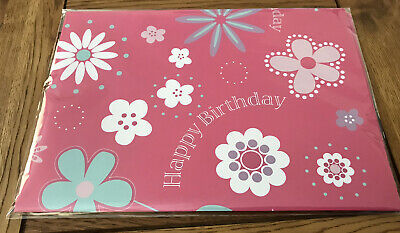 £1.95 • Buy 2 Sheets Birthday Wrapping Paper Deep Pink And Floral Design Ref 2712