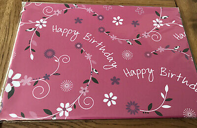 £1.95 • Buy 2 Sheets Birthday Wrapping Paper Deep Pink And Flora Design Ref 2708