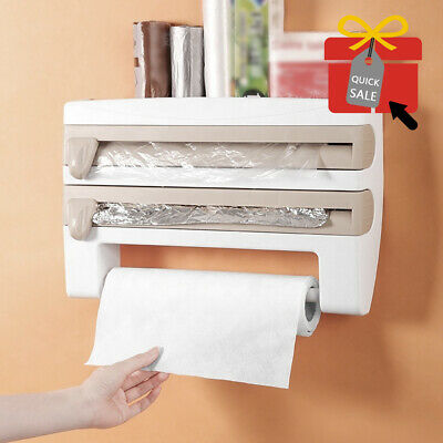 £6.99 • Buy Cling Film And Kitchen Foil Dispenser Paper Towel Roll Holder Wall Mounted Rack