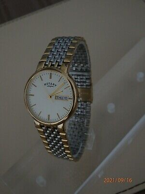 £35 • Buy Men'sClassic*ROTARY* Watch;Two-tone DAY+DATE. Cleaned, NEW Battery And Tested