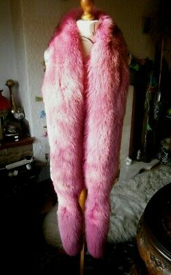 £325 • Buy Exceptional Vtg HUGE 96  FUSCHIA PINK FOX Fur STOLE/BOA With Tails, MINT & GLAM!