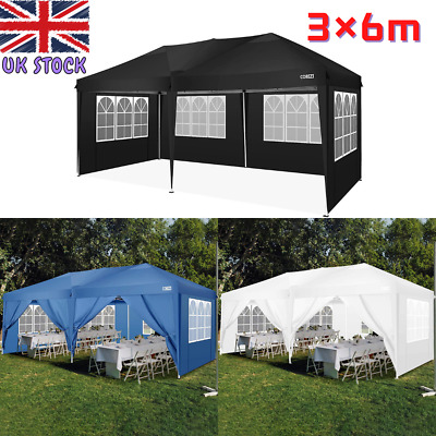 £259.89 • Buy 3x6m Gazebo Pop Up Anti UV/Rain Party Tent W/Sides Marquee Awning Shelter Canopy