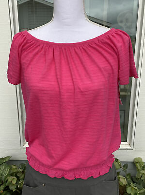 £5.80 • Buy Style & Co, Peasant Top, Smock Waist, Flutter Sleeve, Pink Breeze, NWT, XS