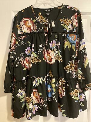 £8.61 • Buy NEW Olivia & Grace Printed Ruffle Peasant Top Black Ground Floral Sz L $70 (S45)