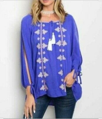 £7.25 • Buy Entro Royal Blue Peasant Top Embroidered Crochet Tassels Size Small / X Large