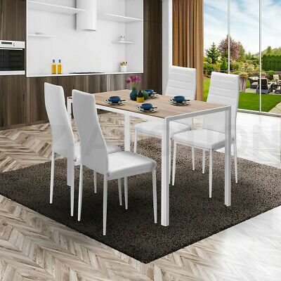 AU249.95 • Buy Wooden Dining Table Set Oak With 4 Faux Leather Chairs Seat Kitchen Furniture