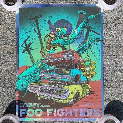 $600 • Buy Foo Fighters Sparkle Foil Concert Poster Syracuse NY RARE X/15 In Hand
