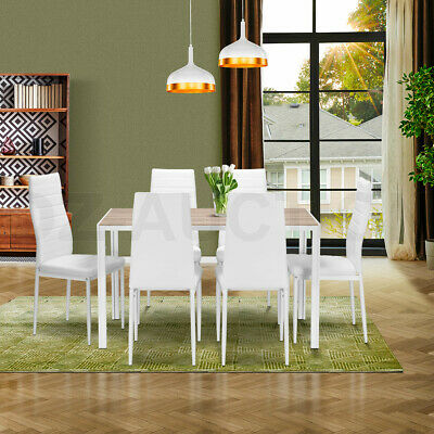 AU319.95 • Buy Wooden Dining Table Set Oak With 6 Faux Leather Chairs Seat Kitchen Furniture