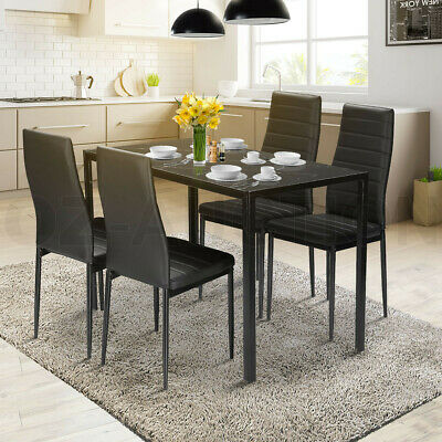 AU259.95 • Buy Glass Dining Table Set Black With 4 Faux Leather Chairs Seat Kitchen Furniture