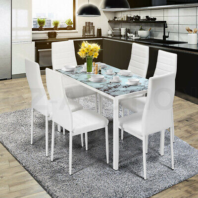AU329.95 • Buy Glass Dining Table Set White With 6 Faux Leather Chairs Seat Kitchen Furniture