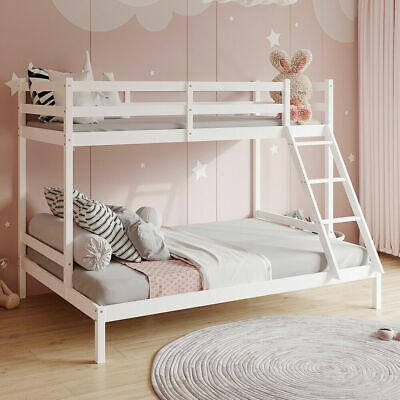 £158 • Buy Triple Bunk Beds Double Bed For Kids Children White Wooden Bed Frame With Stairs