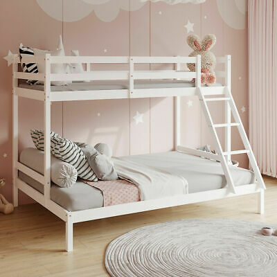 £9 • Buy Triple Bunk Beds Double Bed For Kids Children White Wooden Bed Frame With Stairs