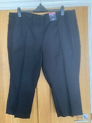 £10.99 • Buy BNWT M&S Cotton Slim Cropped Trousers Size 22S. Elasticated Back .Black  £22.50