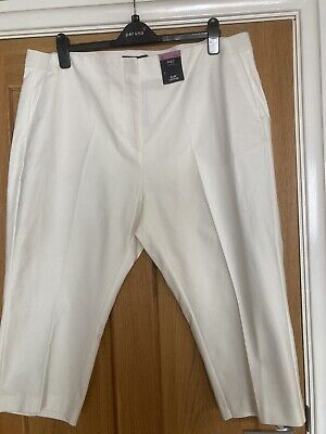 £10.99 • Buy BNWT M&S Cotton Slim Cropped Trousers  Elasticated Band. 22S Winter White £22.50