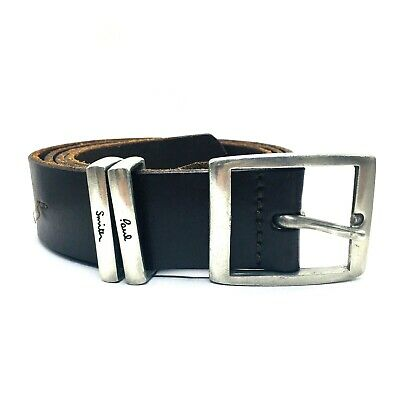 £25 • Buy Paul Smith Dark Brown Leather Belt With Pewter Buckle, Size 38 , Metal Loops