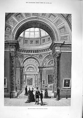 £20 • Buy Original Old Antique Print 1876 New Rooms National Gallery Art Architecture