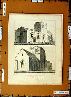 £18 • Buy Old Antique Print 1819 Architecture Iffley Church Oxfordshire Engraving 19th