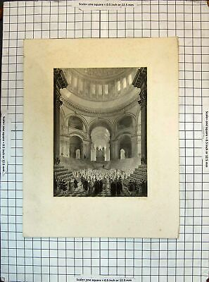 £18 • Buy Original Old Antique Print Interior Cathedral Architecture Engraving