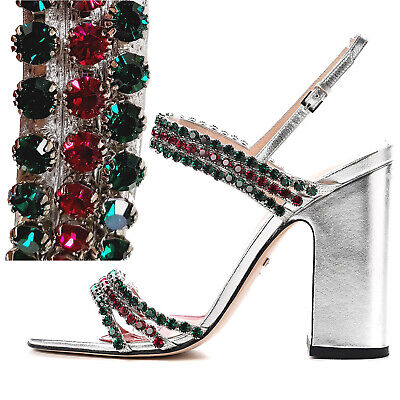 £261.15 • Buy Gucci Shoes Bertie Crystal Silver Leather Block Heel Sandals $1,250 36.5 Us 6.5