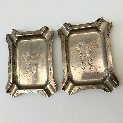 £30 • Buy Antique Pair Of William Neale Solid Silver Monogrammed Ash Trays 56.81g
