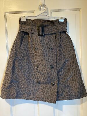 AU5.50 • Buy Scanlan Theodore Skirt 8 - Leopard Print Two Pocket Belted A Line Skirt - Size 8