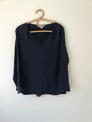 AU31 • Buy TRENERY By Country Road Sz L Silk Shirt Navy Blue