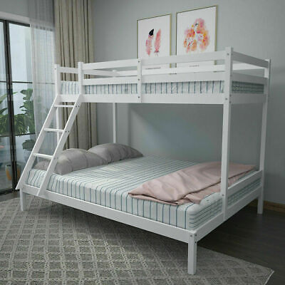 £99 • Buy Triple Sleeper Bunk Bed Solid Wooden Frame Kids Double & Single 4FT6 3FT White