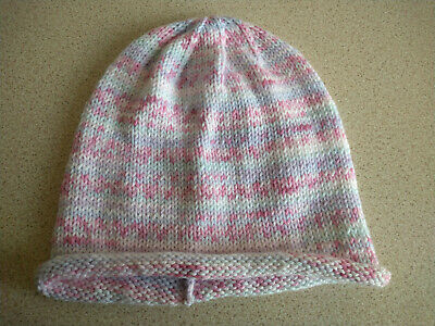 £3.50 • Buy Hand Knitted Ladies Fair Isle Effect Beanie Hat. Pastel Pink, Lilac, Blue, White