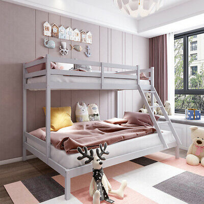 £99.99 • Buy Double Bunk Bed Triple Pine Wooden 4FT6 3FT Children Bed Frame With Stair Grey