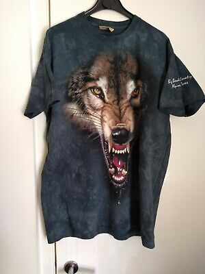 £7.99 • Buy The Mountain..Vintage Mens Wolf T Shirt, Large, 42-44  Chest.  Vgc Used.