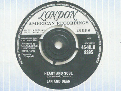 £5 • Buy Jan And Dean - Heart And Soul - 7  Vinyl - London Label + Sleeve