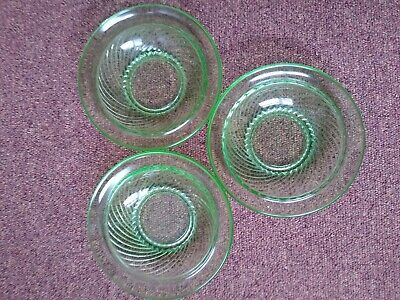£3.50 • Buy 3 Vintage Green Glass Small Dessert Fruit Bowls Dishes 5 1/2
