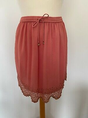 £0.99 • Buy Topshop @ ASOS Peach Coral Beaded Embellished Skirt Smart Size S 8 10 Summer