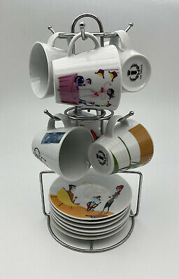 £27.50 • Buy Pop Art 1970's Demitasse Duos Set Of 6 Espresso Coffee Cups Saucers & Stand
