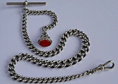 £130 • Buy Stunning Antique Solid Silver Pocket Watch Albert Chain And Carnelian Fob Seal
