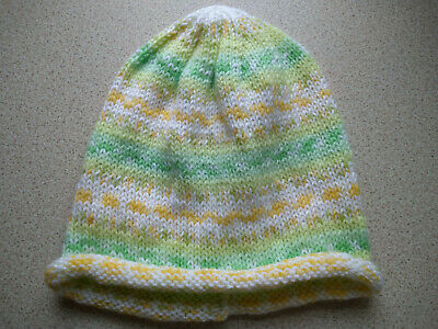 £3.50 • Buy Hand Knitted Ladies Fair Isle Effect Beanie Hat.Vibrant Green, Yellow And White