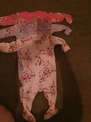 £3 • Buy Next Floral Sleepsuits Babygrows 9-12 Months