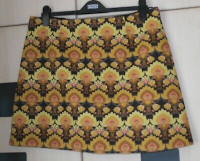 £4.99 • Buy River Island Yellow & Gold Floral A LIne Short Skirt Size 16. Good Condition