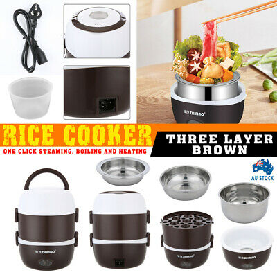 AU28.99 • Buy AU Electric Portable Lunch Box 3-layer Stainless Steel Rice Cooker Steamer Pot