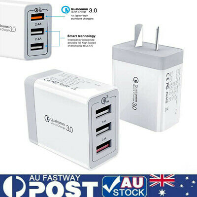 AU17.99 • Buy 30W Qualcomm 3Port QC3.0 Fast Charging USB Wall Charger Adapter For IPhone AU