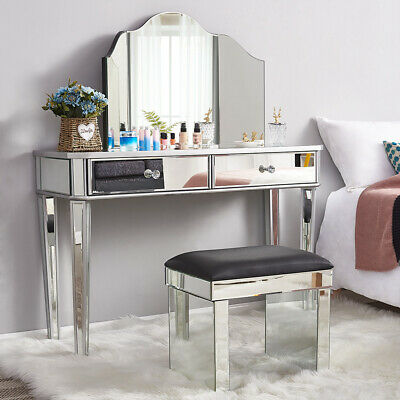 £138.99 • Buy Bedroom Mirrored Glass Dressing Table Cushioned Stool Make Up Mirror Vanity Set
