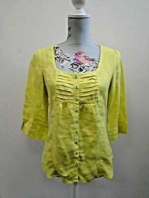£4.99 • Buy Jaeger Yellow Linen Pleated Button Front 3/4 Sleeve Blouse Shirt Ladies Size 8