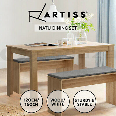 AU179.95 • Buy Artiss Dining Table And Chairs Dining Set Kitchen Restaurant Wooden White 160CM