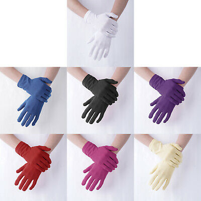 £6.32 • Buy Women Solid Short Wrist Satin Stretchy Gloves Mittens For Party Dress Prom Dance