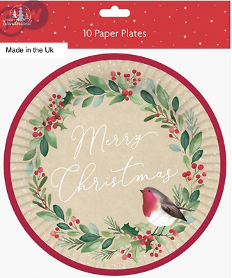 £3.99 • Buy CHRISTMAS PARTY LUXURY PAPER PLATES DECORATIONS UK Childrens Adults Dinner