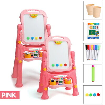 £18.99 • Buy Pink Kids Folding Magnetic Drawing Board Double Sided Easel Chalk Eraser