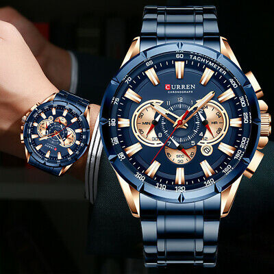 AU35.69 • Buy Mens Watches Chronograph Stainless Steel Waterproof Date Analog Quartz Watches