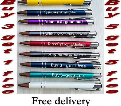 £2.95 • Buy Personalised Pen Laser Engraved With Your Text Or Wish. Great Gift Or Gadget.